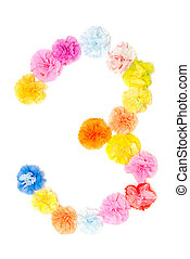"""3"" Number alphabet flowers made from paper craftwork -..."