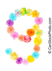 """""""9"""" Number alphabet flowers made from paper craftwork -..."""