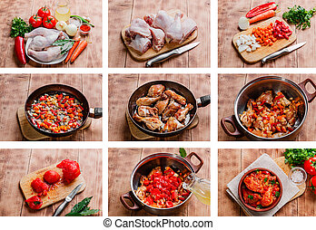 cooking recipe step by step chicken in tomato sauce...