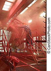 powder coat paint plant in a factory