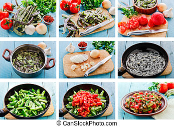 recipe preparation step by step food green beans with...