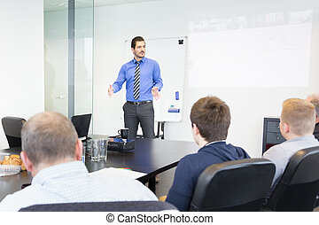 Business presentation on corporate meeting. - Business man...