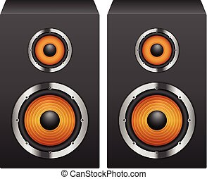Speakers on a white background