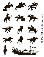 Black silhouettes of horses on a white background. A vector...