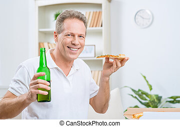 Content adult man drinking beer - Have some rest Cheerful...