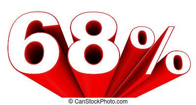 Discount 68 percent off sale. 3D illustration.