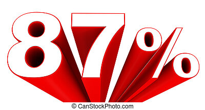 Discount 87 percent off sale. 3D illustration.