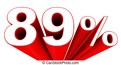 Discount 89 percent off sale. 3D illustration.