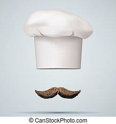 Symbol of chef cap toque and mustache. Haute cuisine. Vector...
