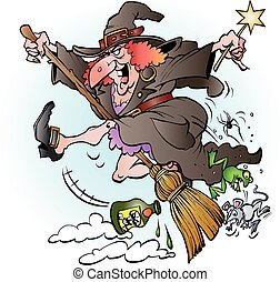 Witch riding on her broom - Vector cartoon illustration of a...