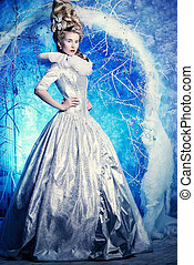 princess in blue light - Fairy Ice Queen in elegant silver...