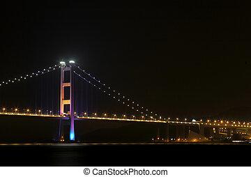 Tsing ma bridge at night, Hong Kong