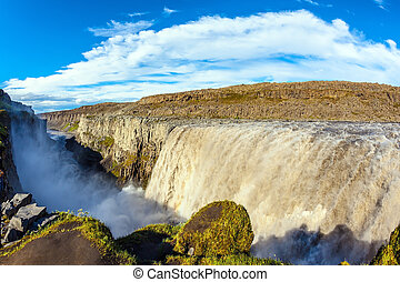 Colossal Dettifoss waterfall in Iceland Sunset on a summer...