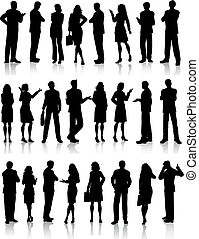 Business people - Large collection of silhouettes of...
