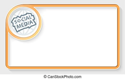 Yellow text frame and white circle box with social media...