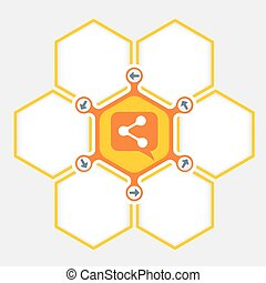 Abstract hexagons for your text and share icon