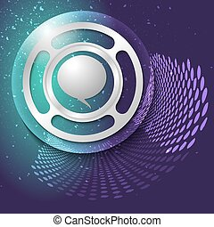 Vector abstract background and silver object with speech bubble