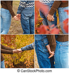 A loving couple holding hands in autumn park outdoors