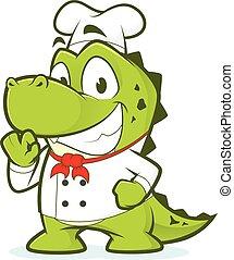 Crocodile or alligator chef - Clipart picture of a crocodile...