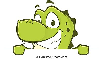 Crocodile looking over a blank sign - Clipart picture of a...