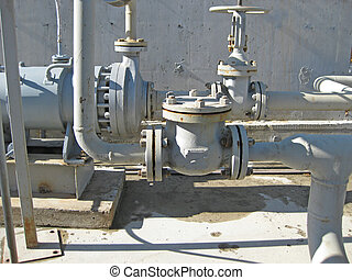 Latch on the pipeline Oil refinery Equipment for primary oil...