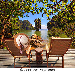 Two convenient chaise lounges - Exotic rest in Thailand Two...