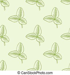 Pattern with green clover leaves