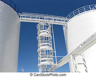 The tank with water and a ladder. Equipment for primary oil...