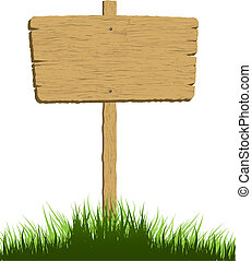 wooden sign  - Wooden sign in grass with a white background