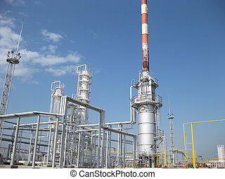The oil refinery. Equipment for primary oil refining....