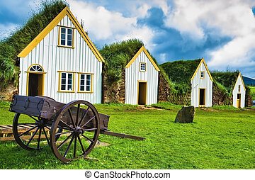 Old two-wheeled carriage - The village first settlers in...