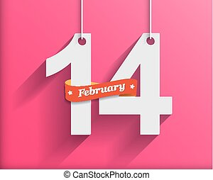 14 February Happy Valentine`s Day - Paper Origami background...