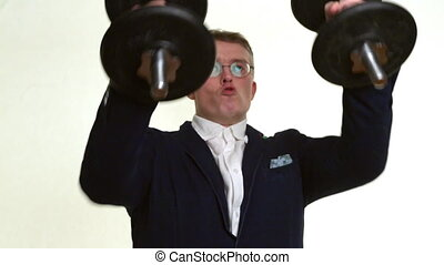 businessman with dumbbells doing exercises