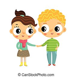 Cartoon girl and boy holding hands, cute vector characters, isolated on white