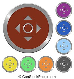 Color scroll buttons - Set of color glossy coin-like scroll...