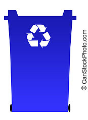 Blue recycling bin - Blue recycling rubbish bin isolated on...