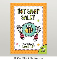 Toy shop vector sale flyer design baby tableware - plate,...