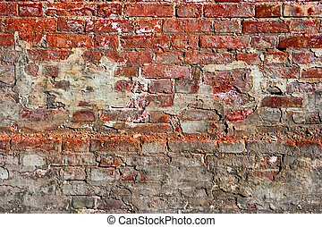 Red brick wall background with spots of concrete Copyspace...