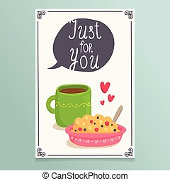 Valentines Day greeting card design with romantic breakfast...