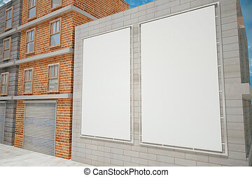 Blank white posters on grey brick wall on the city street,...