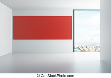 Red board in a white interior with window, mock up