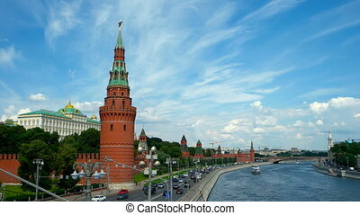 Moscow Kremlin and Moscow River, Russia, Time Lapse