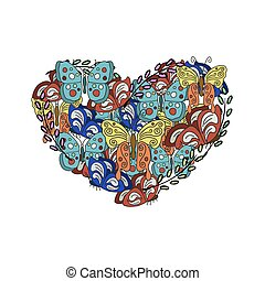 Vector modern Butterflies in the form of heart on white