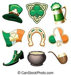 Saint Patricks Day Emblem Set - Saint Patricks Day symbol or...