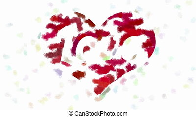 Word Love in heart painting - Love inscription inside red...
