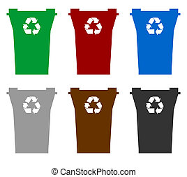 Recycling bins - Illustration of six recycling bins in...