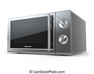Metallic microwave oven isolated on white background.