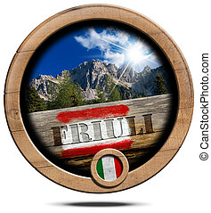 Mountains of Friuli - Wooden Symbol - Wooden round icon or...
