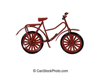 Red Bicycle used as a personal transportation vehicle - path...