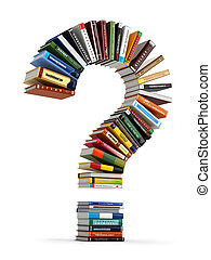 Question mark from books. Searching information or FAQ...